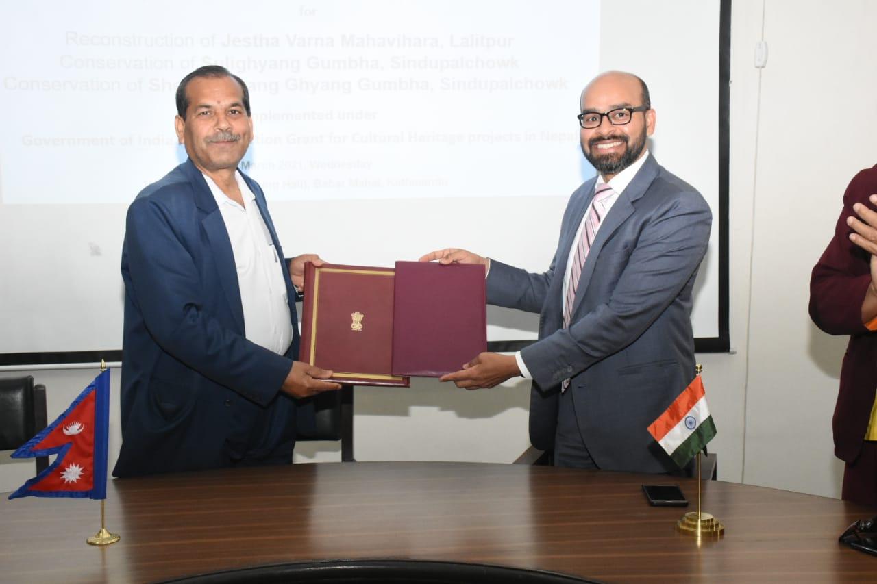 १ महाबिहार र २ गुम्वा पुनःनिर्माण गर्न भारतद्वारा २४ करोड ६० लाख सहयोग गर्ने सम्झौता