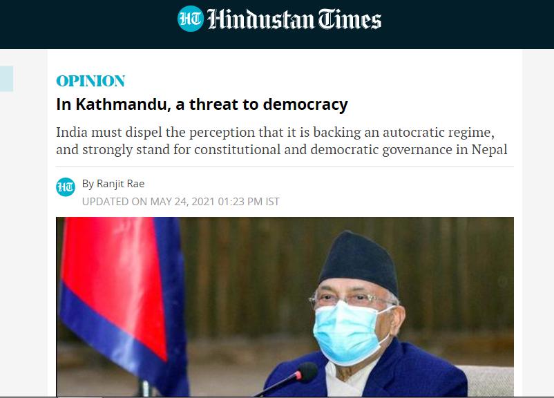 नेपालको संसद विघटनले लोकतन्त्रलाई चुनैति दिएको छ: रन्जित रे