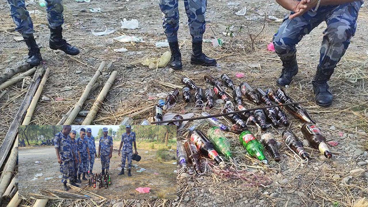 माेतिपुरमा झण्डै एक हजार 'पेट्रोल बम' र घरेलु हतियार भेटिएः सशष्त्र प्रहरी